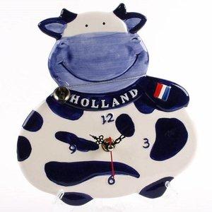 Typisch Hollands Wandklok Koe 20 cm - Delfts