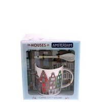 Typisch Hollands Mug, spoon, saucer Amsterdam houses