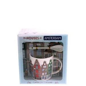 Typisch Hollands Becher, Löffel, Teller Amsterdam Häuser