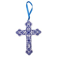 Typisch Hollands Kerstornament Kruis Delfts blauw