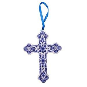 Heinen Delftware Kerstornament Kruis Delfts blauw