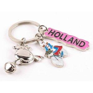 Typisch Hollands Schlüsselanhänger Kuh / Fahrrad shiny silver