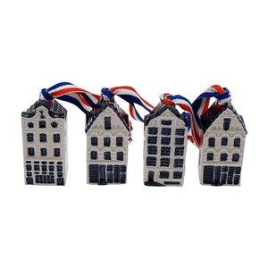 Typisch Hollands Weihnachtsschmuck - Delfter Blaue Häuser (4er Pack)