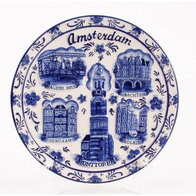 Typisch Hollands Wandbord Amsterdam groot 20 cm