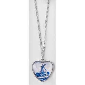 Typisch Hollands Necklace heart - Molenlandschap