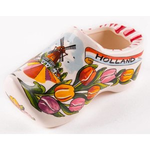 Typisch Hollands Wooden shoe with tulips (only) 15.5 cm