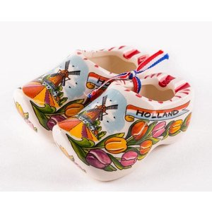 Typisch Hollands Wooden shoes with tulips (pair) 10 cm