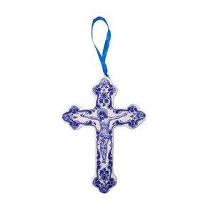 Heinen Delftware Kerstornament kruis met Jezus afbeelding