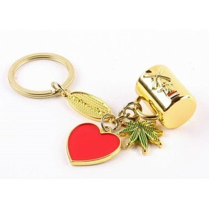 Typisch Hollands Keychain charms cup / heart / weed gold