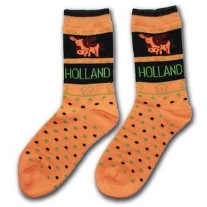 Holland sokken Damen Socken - Kühe - Orange
