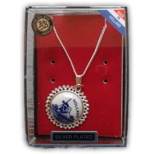 Typisch Hollands Necklace silver plated fine edge - Delft blue