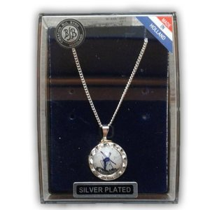 Typisch Hollands Necklace silver plated with rhinestones and Delft blue