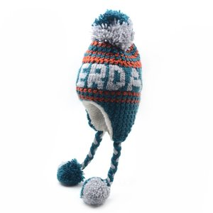 Robin Ruth Fashion Amsterdam hat - Cable pattern- Artic blue / Orange