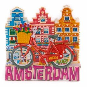 Typisch Hollands Magnet red bicycle with houses Amsterdam