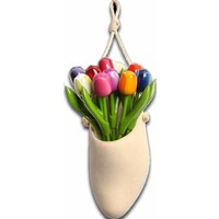 Typisch Hollands Clog-plant hanger filled with wooden tulips