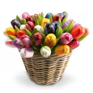 Typisch Hollands 50 Holz - Tulpen in einem Weidenkorb