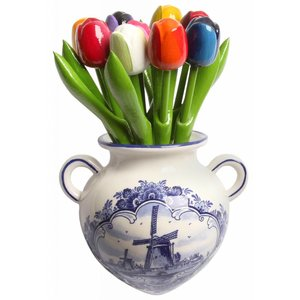 Typisch Hollands Wooden tulips in hanging pot - Delft blue earthenware