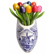 Typisch Hollands Wooden tulips in wooden shoe - Delft blue earthenware
