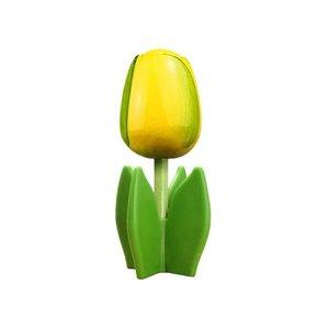 Typisch Hollands Houten tulp op voet 14 cm - Geel - Groen