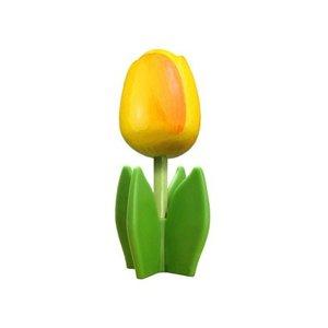 Typisch Hollands Houten tulp op voet 14 cm - Geel - Orange