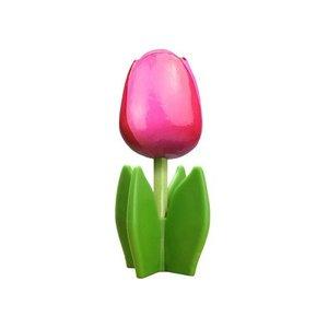 Typisch Hollands Houten tulp op voet 14 cm - Diep - Roze