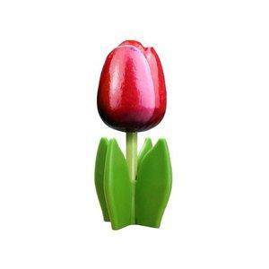 Typisch Hollands Houten tulp op voet 14 cm - Rood-Wit