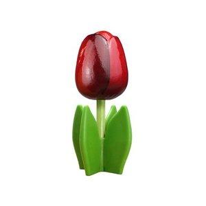 Typisch Hollands Houten tulp op voet 14 cm Donker Rood