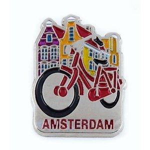 Typisch Hollands Pin fiets met huisjes Amsterdam zilver