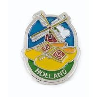Typisch Hollands Pin klompen met molen zilver