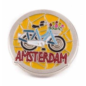 Typisch Hollands Pin blau Fahrrad Amsterdam Silber