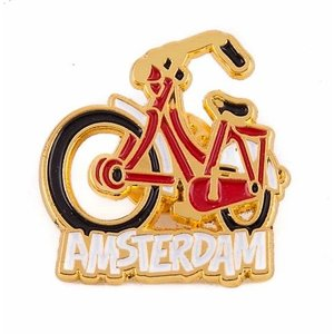 Typisch Hollands Pin fiets rood Amsterdam goud