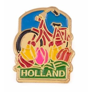 Typisch Hollands Pin red bicycle with tulips Holland gold