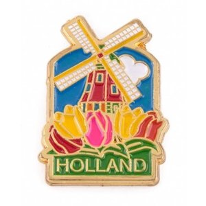 Typisch Hollands Pin Mühle mit Tulpen Holland Gold