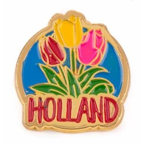 Typisch Hollands Pin with 3 tulips Holland gold