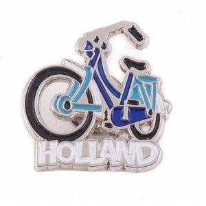 Typisch Hollands Pin Fahrrad blau Holland Silber