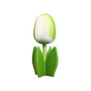 Typisch Hollands Houten tulp op voet 14 cm - Wit - Groen