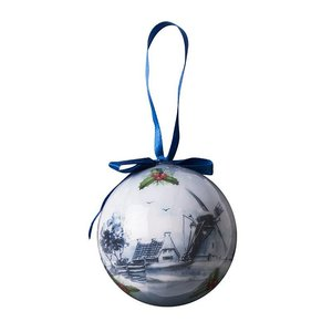 Typisch Hollands Delft blue Christmas bauble in Giftbox - Plastic