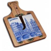 Typisch Hollands Käsebrett mit Messer - Delftware - Amsterdam