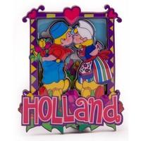 Typisch Hollands Magneet 2D MDF kussend paartje Holland