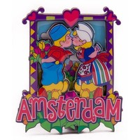 Typisch Hollands Magnet 2D MDF kissing couple Amsterdam