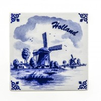 Typisch Hollands Delft-blaue Fliese - Molen - Holland