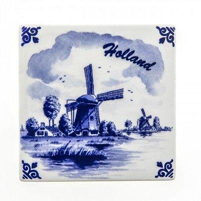 Typisch Hollands Delfts blauwe tegel - Molen - Holland