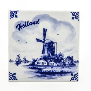 Heinen Delftware Delfts blauwe tegel - Polder -Molen - Holland