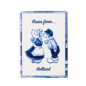 Heinen Delftware Magneet - tegel - rechthoek kissing couple