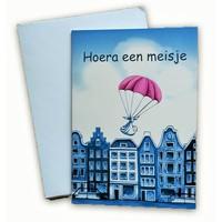 Typisch Hollands Doppel-Grußkarte - Hurra ein Mädchen!