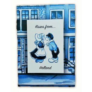 Heinen Delftware Enkele kaart - Delfts blauw - Kisses from Holland