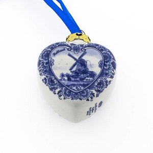 Typisch Hollands Delft blue - Heart shape - Mill landscape
