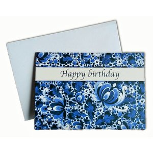 Heinen Delftware Double greeting card - Happy Birthday - Delft blue