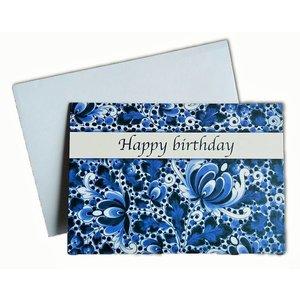 Heinen Delftware Dubbele wenskaart - Happy Birthday - Delfts blauw
