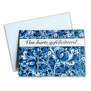 Typisch Hollands Dubbele wenskaart - Delfts - van Harte Gefeliciteerd